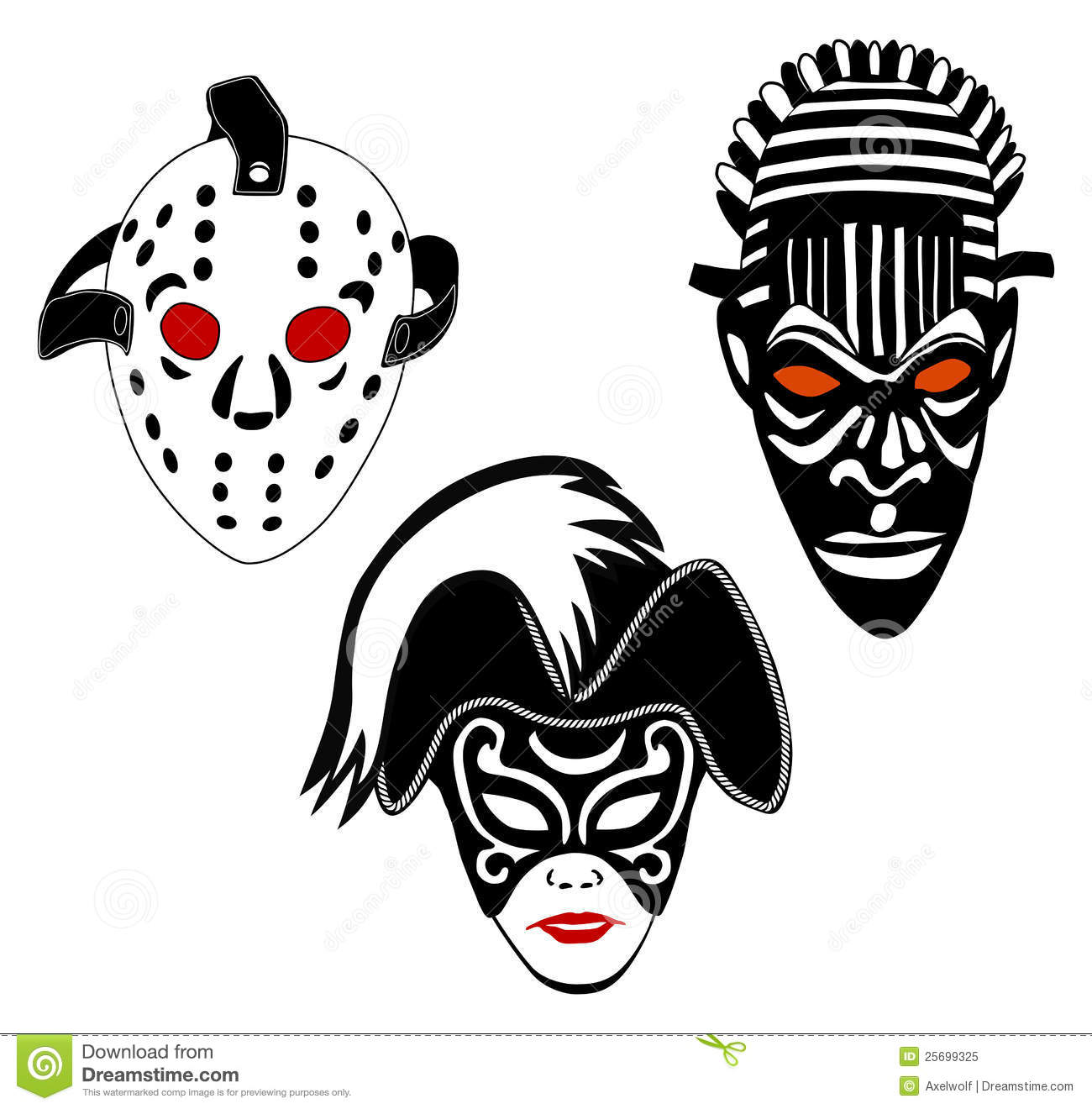 Masks, Set Of Hockey, Venice And African Stock Vector