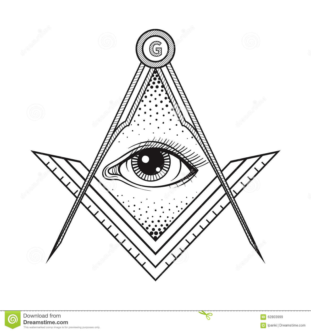 Masonic Square And Compass Symbol With All Seeing Eye
