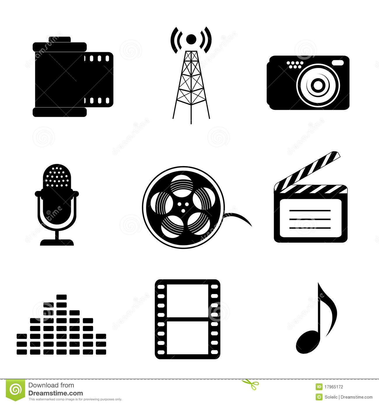 Mass Media And Multimedia Icons Stock Vector