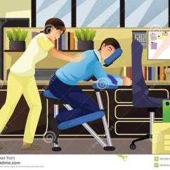 Office Chair Illustration Steve Silver Dining Chairs Massage Therapist Working On A Client In An Stock