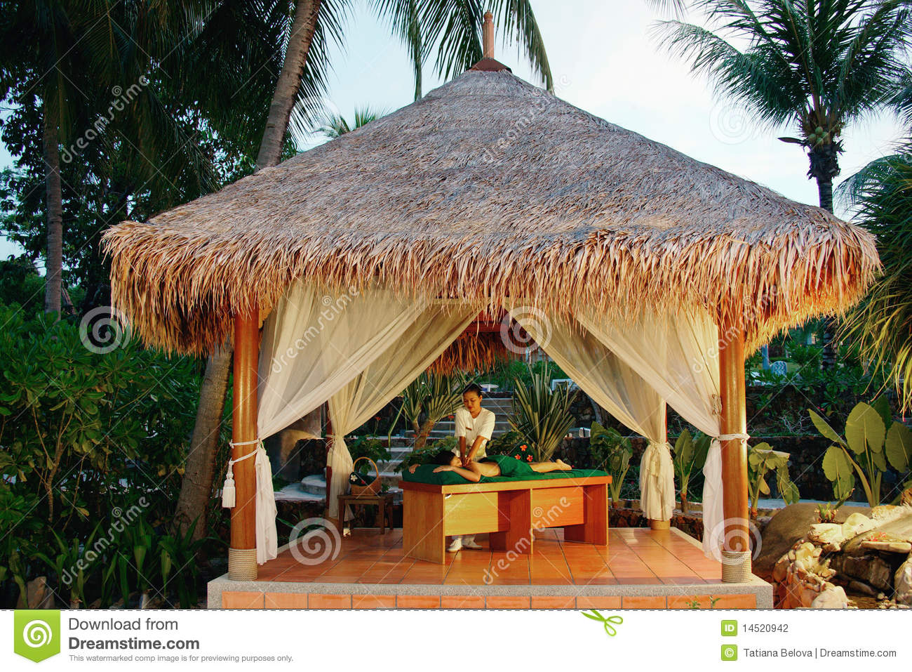 Massage in tropical spa. stock photo. Image of procedure - 14520942