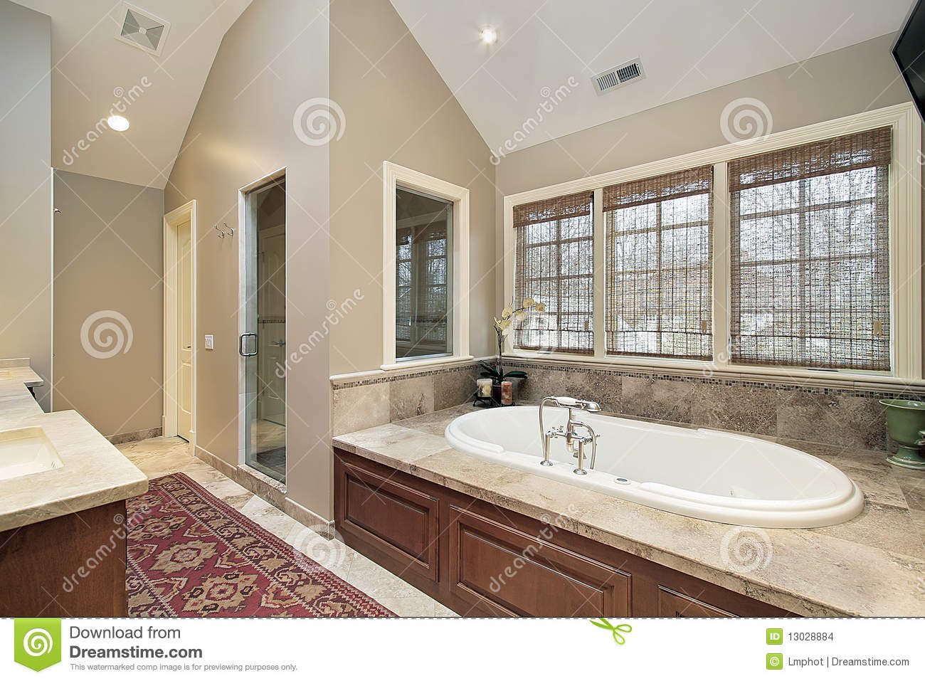 Master Bath With Wood Paneled Tub Stock Photo  Image