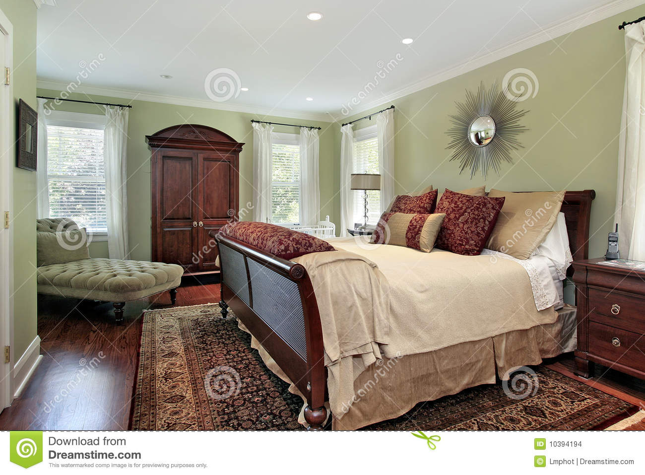 Master Bedroom With Green Walls Stock Photo  Image 10394194