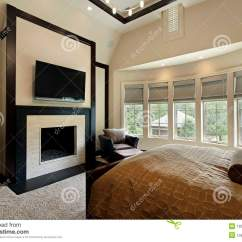 How To Decorate A Living Room With Fireplace Wine Bar Tucson Master Bedroom Wall Of Windows Royalty Free Stock ...