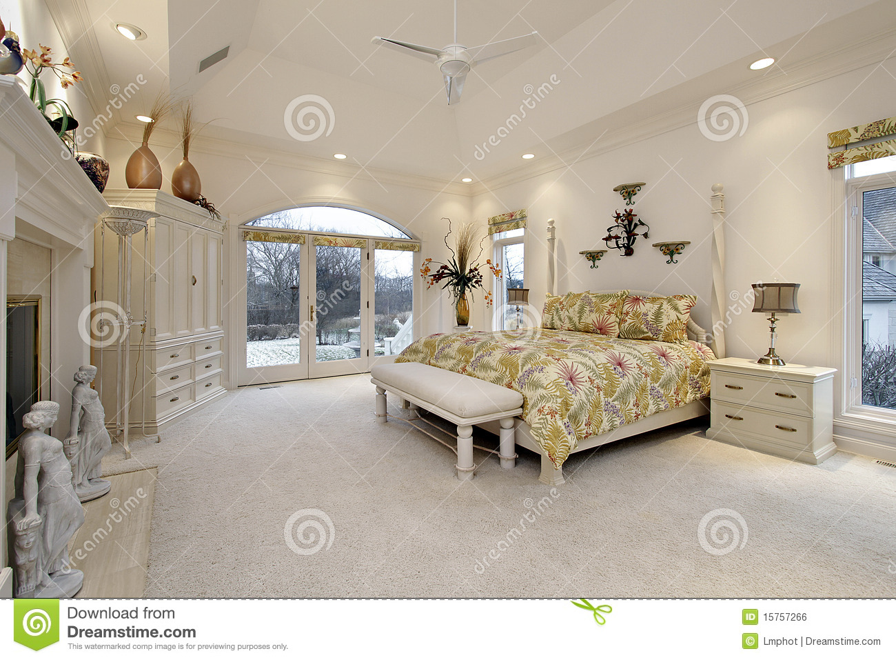 Master Bedroom With White Fireplace Royalty Free Stock