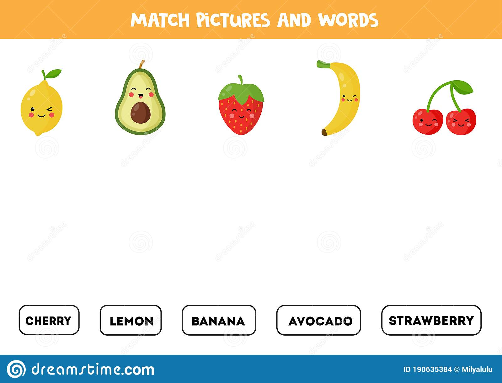 Match Fruits And Berries With The Written Words Stock