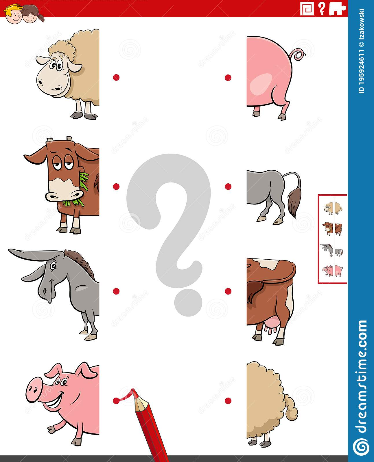 Match Halves Of Pictures With Farm Animals Educational