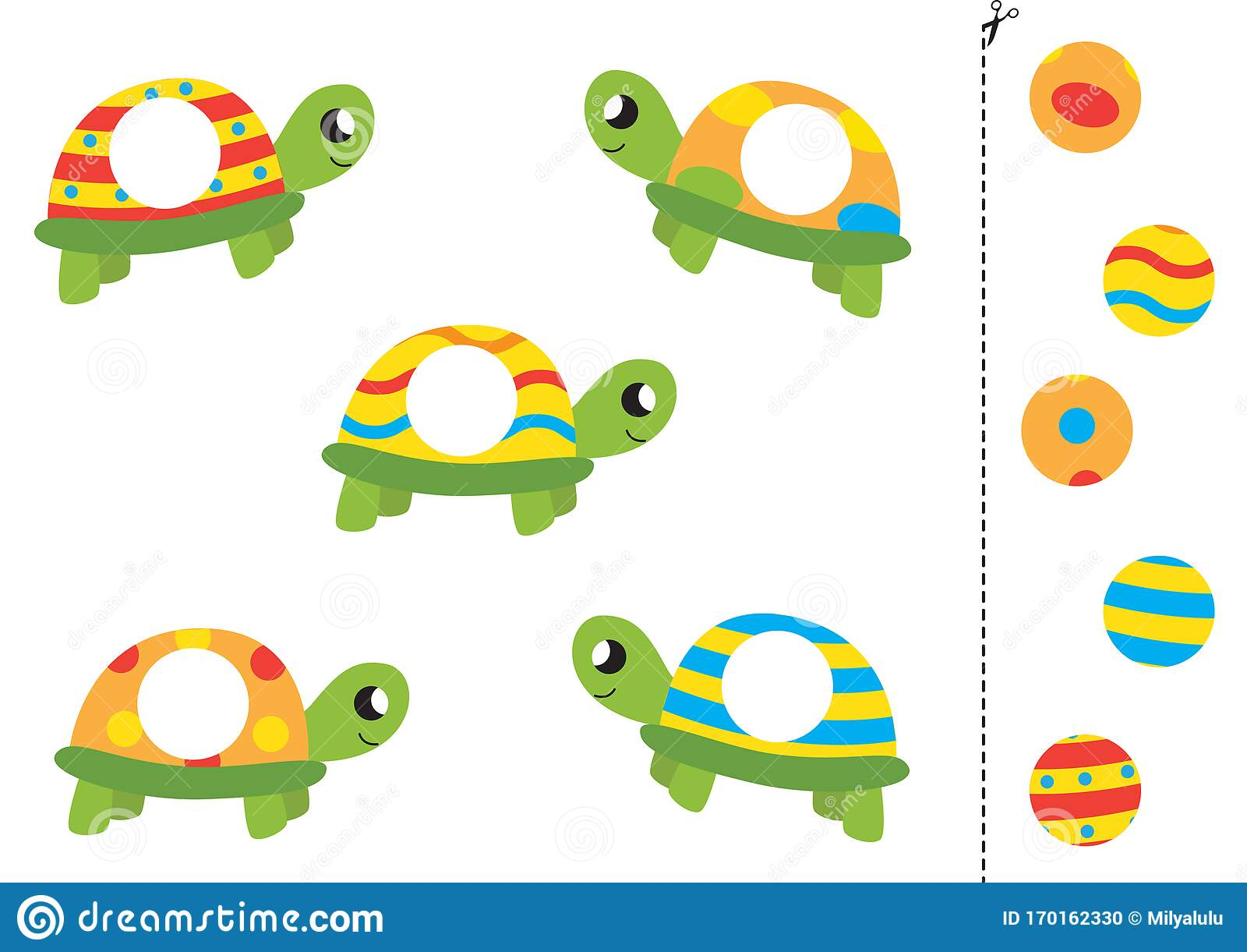 Match Parts Of Cute Cartoon Turtles Funny Worksheet For