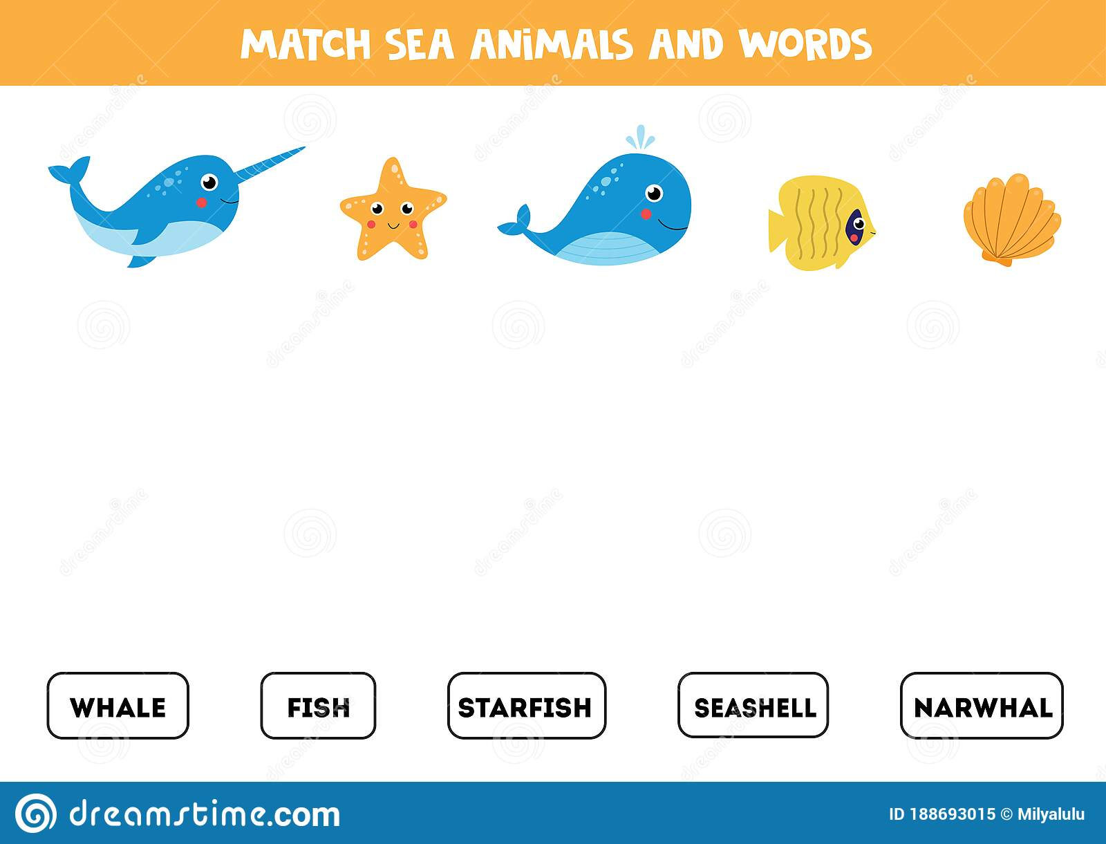 Match Pictures Of Sea Animals With The Words Stock Vector