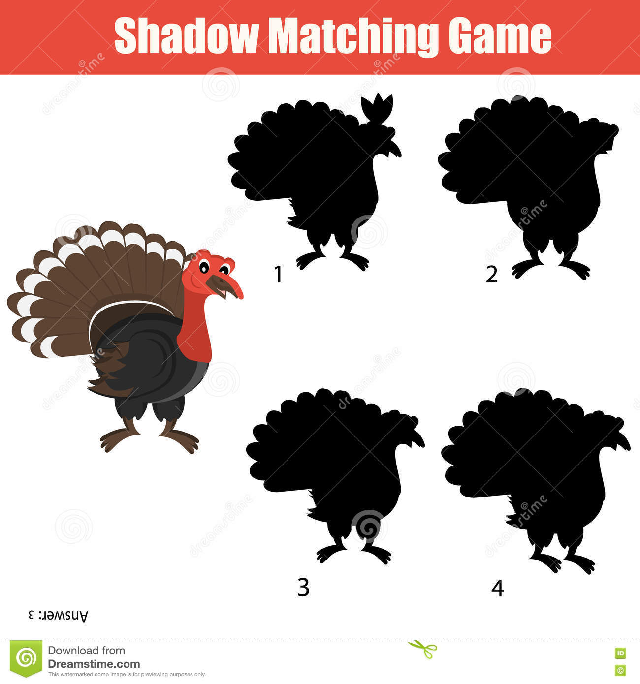Match The Shadow Children Game Stock Vector