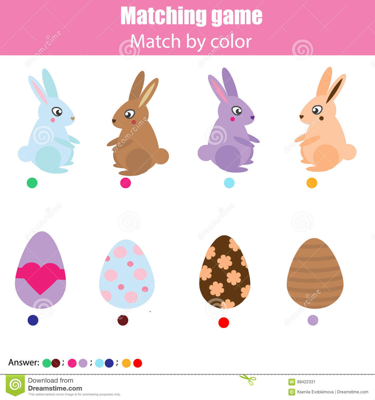 Matching Children Education Game Kids Activity Easter