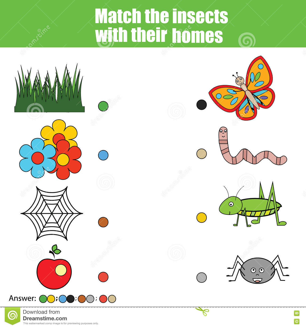 Matching Children Education Game Kids Activity Match Insects With Home Animals Theme Stock
