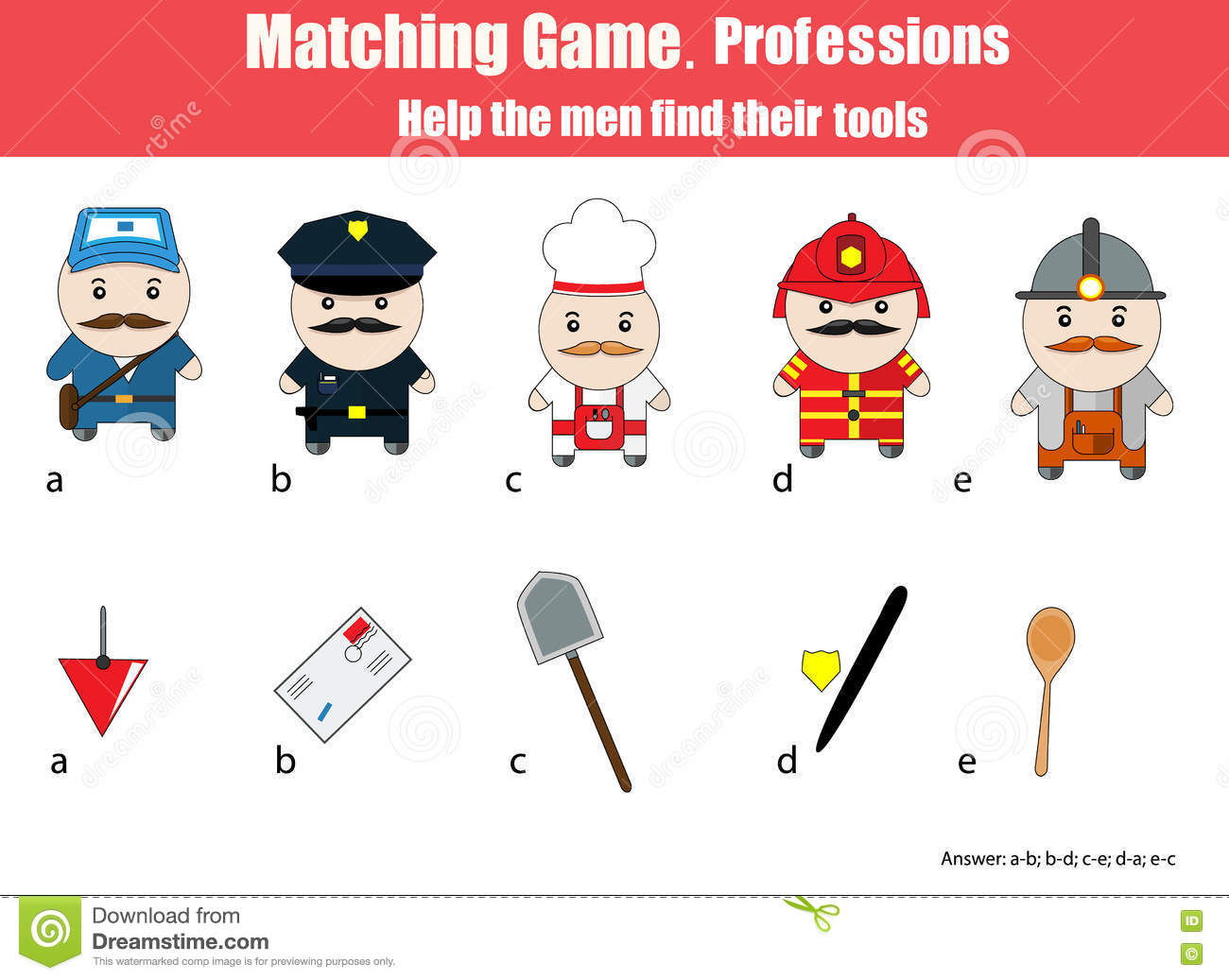 Matching Children Education Game Professions Theme Stock Vector