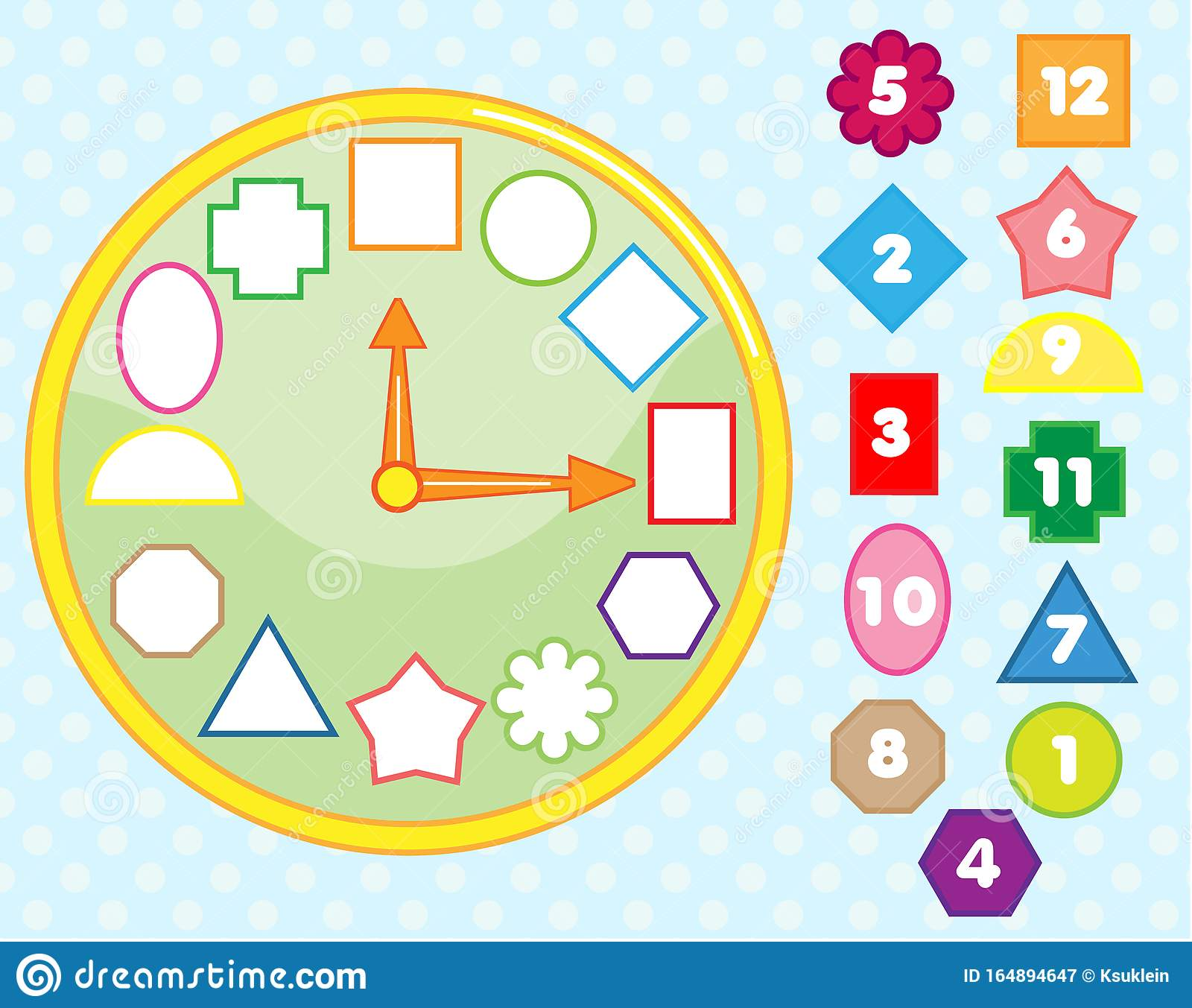 Matching Children Educational Game Clock Puzzle Shape