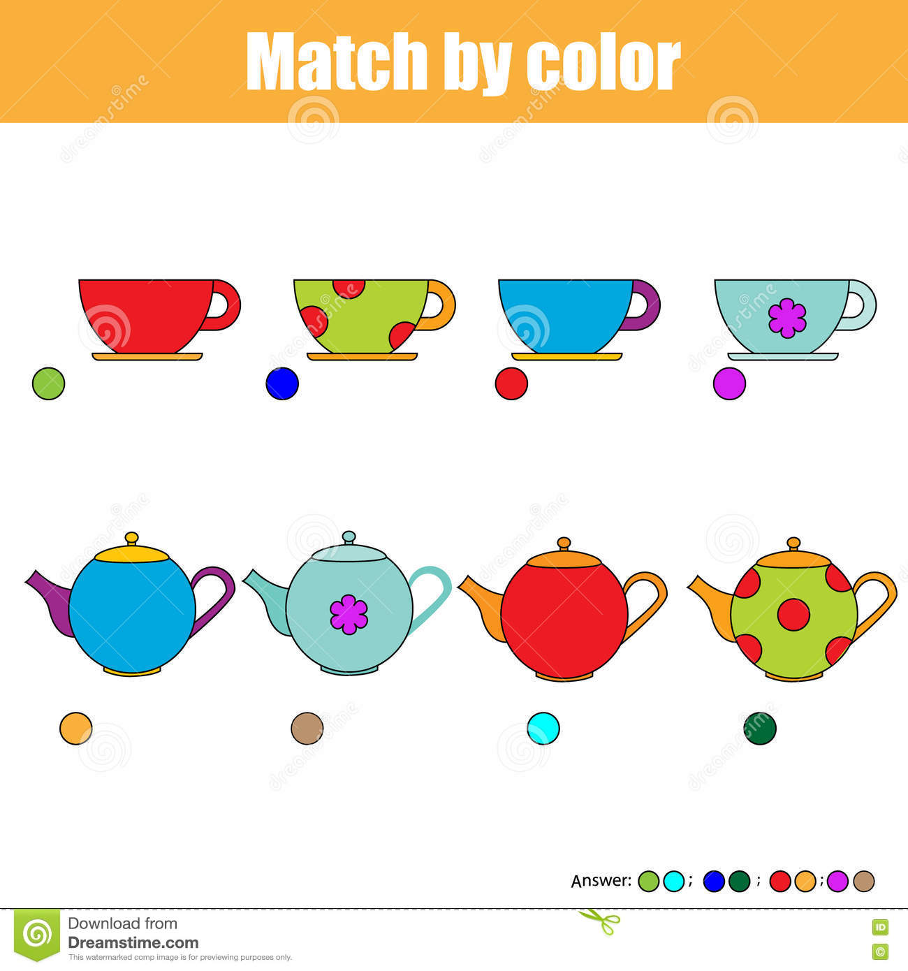 Matching Children Educational Game Kids Activity Sheet