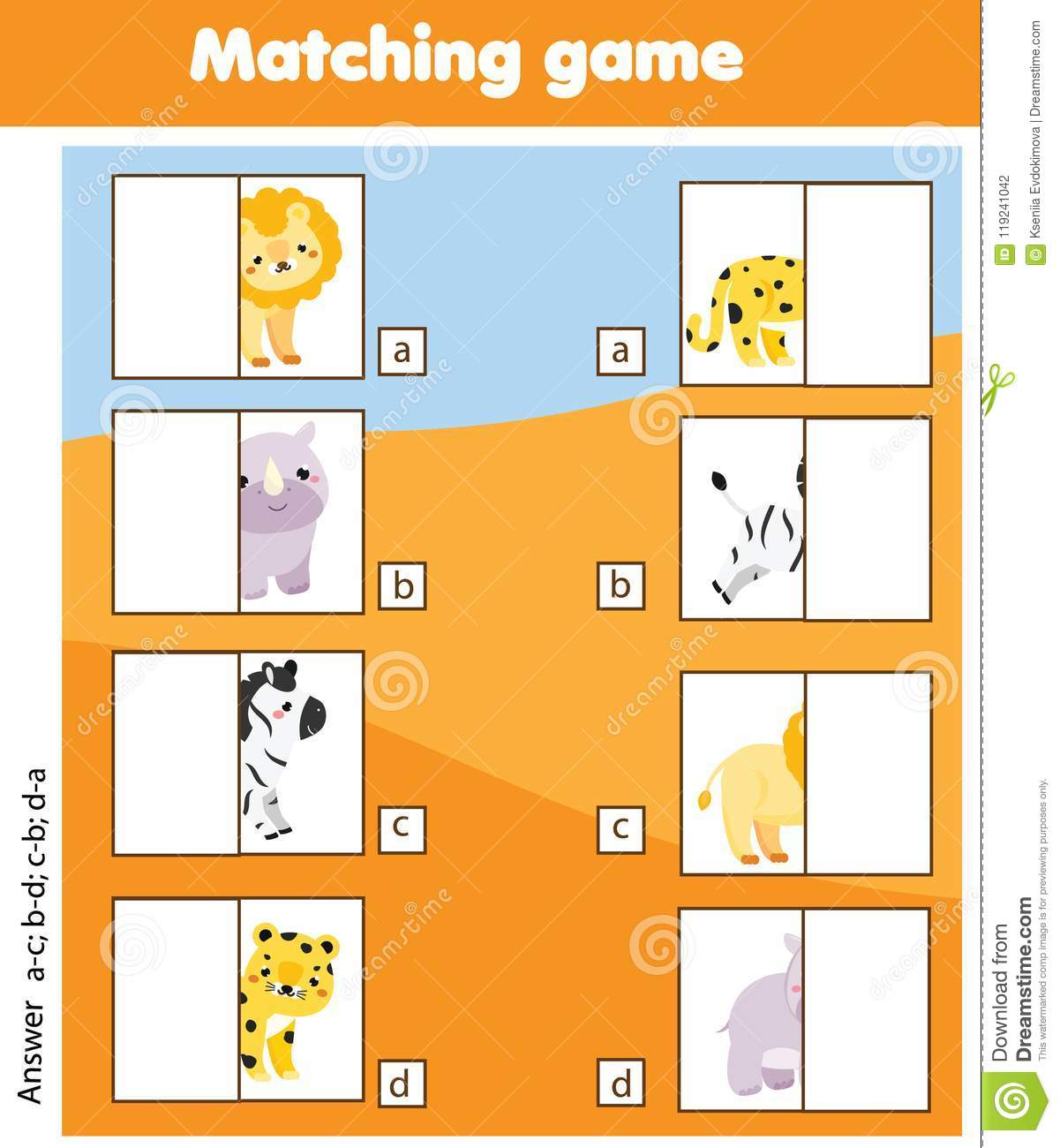Matching Children Educational Game Kids Activity With