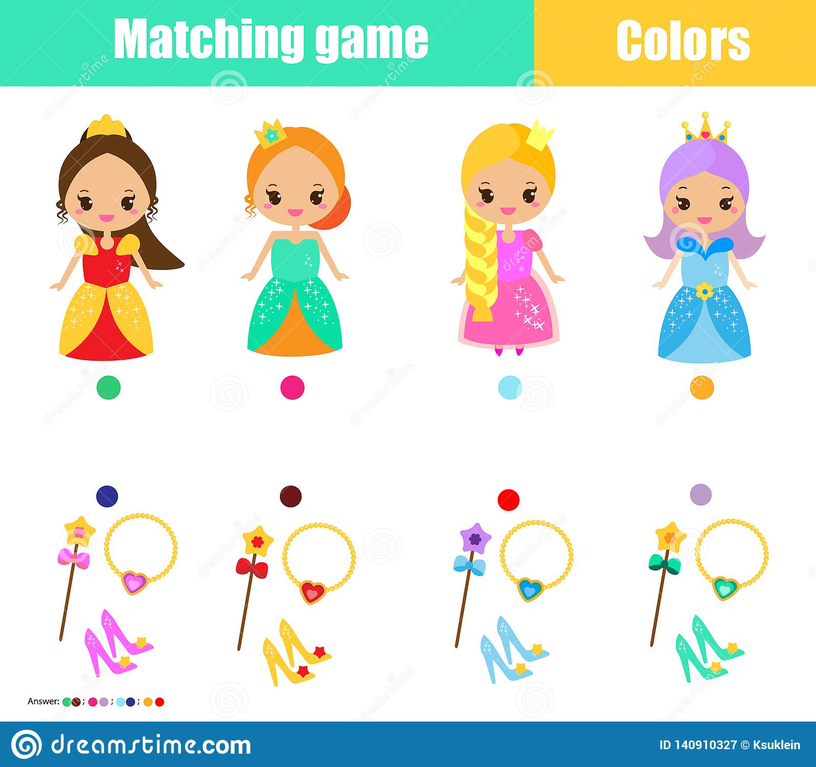 Matching Children Educational Game Match By Color