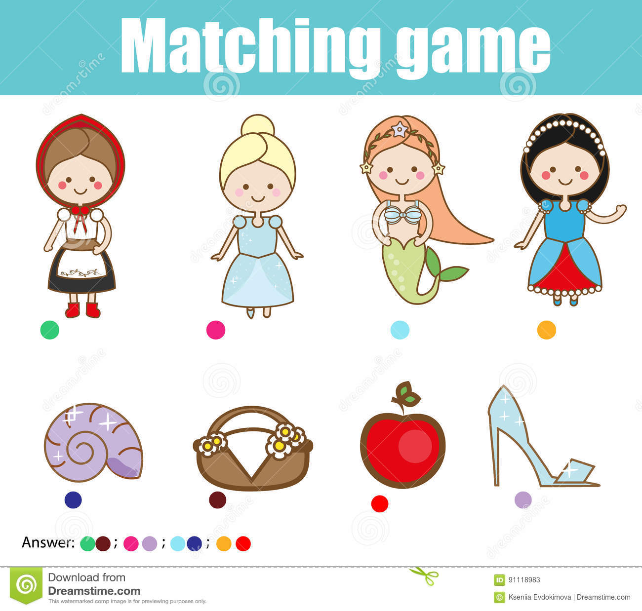 Matching Children Educational Game Match Fairy Tales