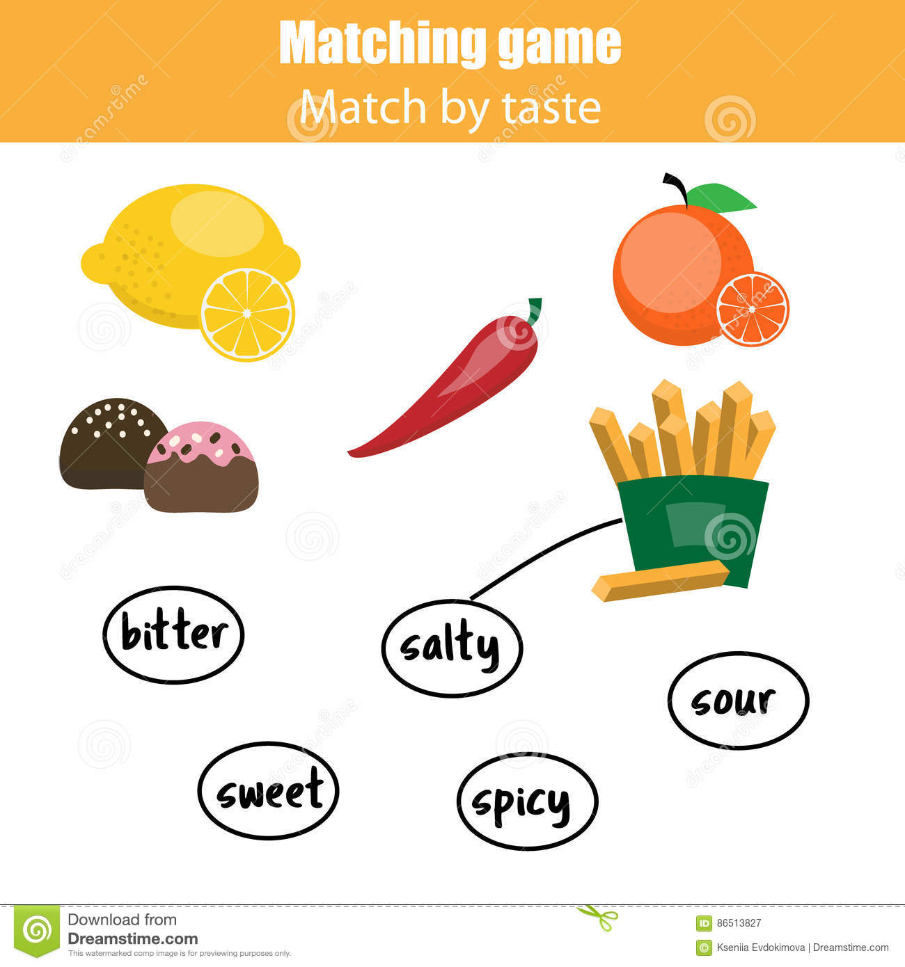 Worksheets Fruits And Tastes