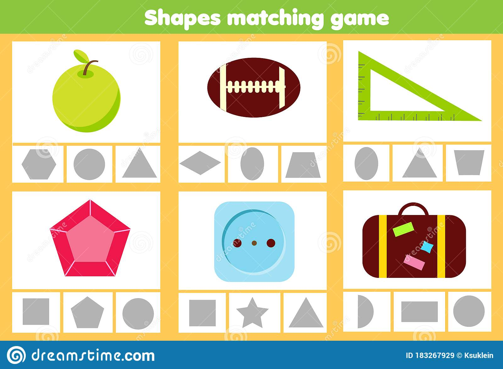 Matching Children Educational Game Match Objects And