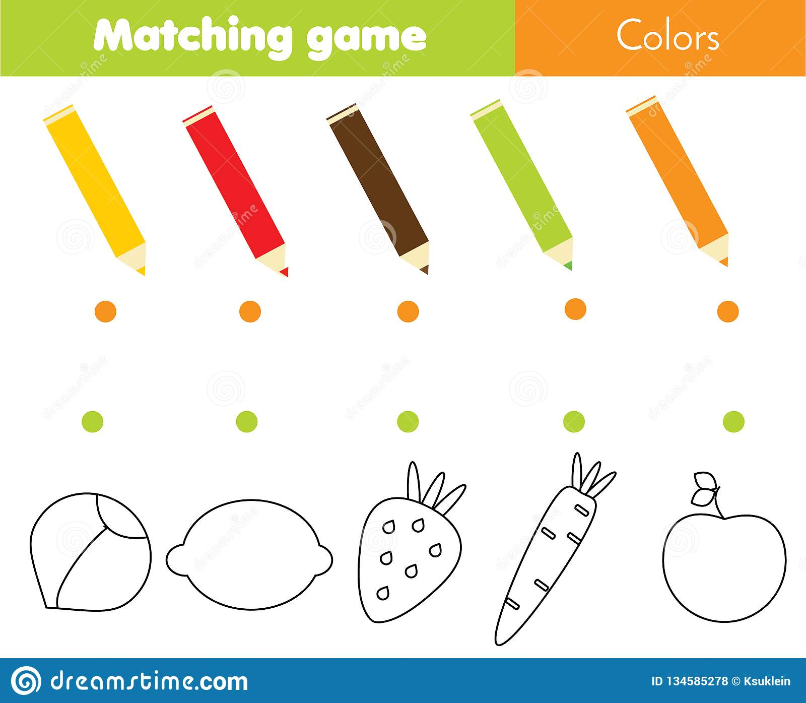 Matching Educational Children Game Match Vegetables And