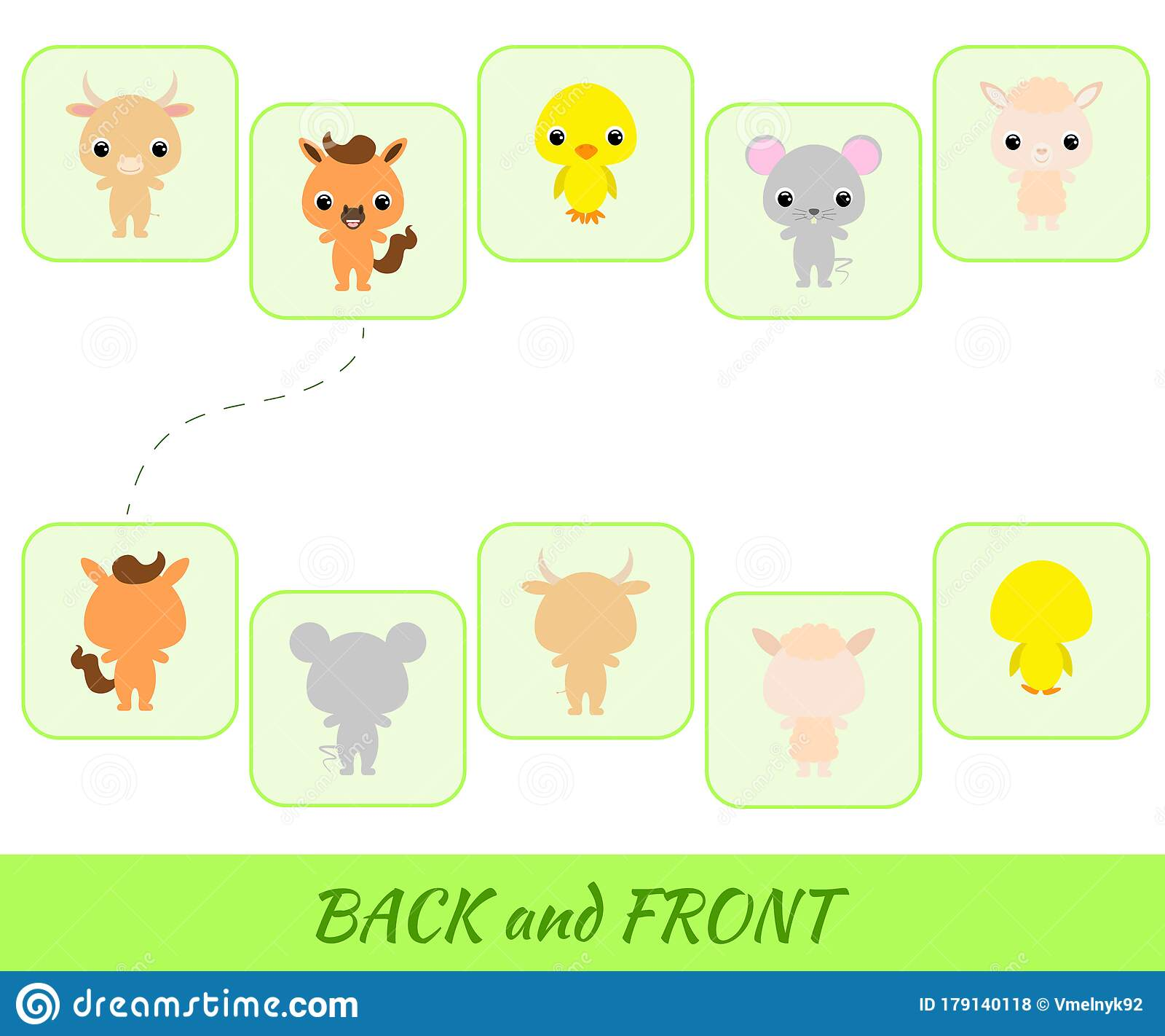 Matching Educational Game For Children Find The Back And