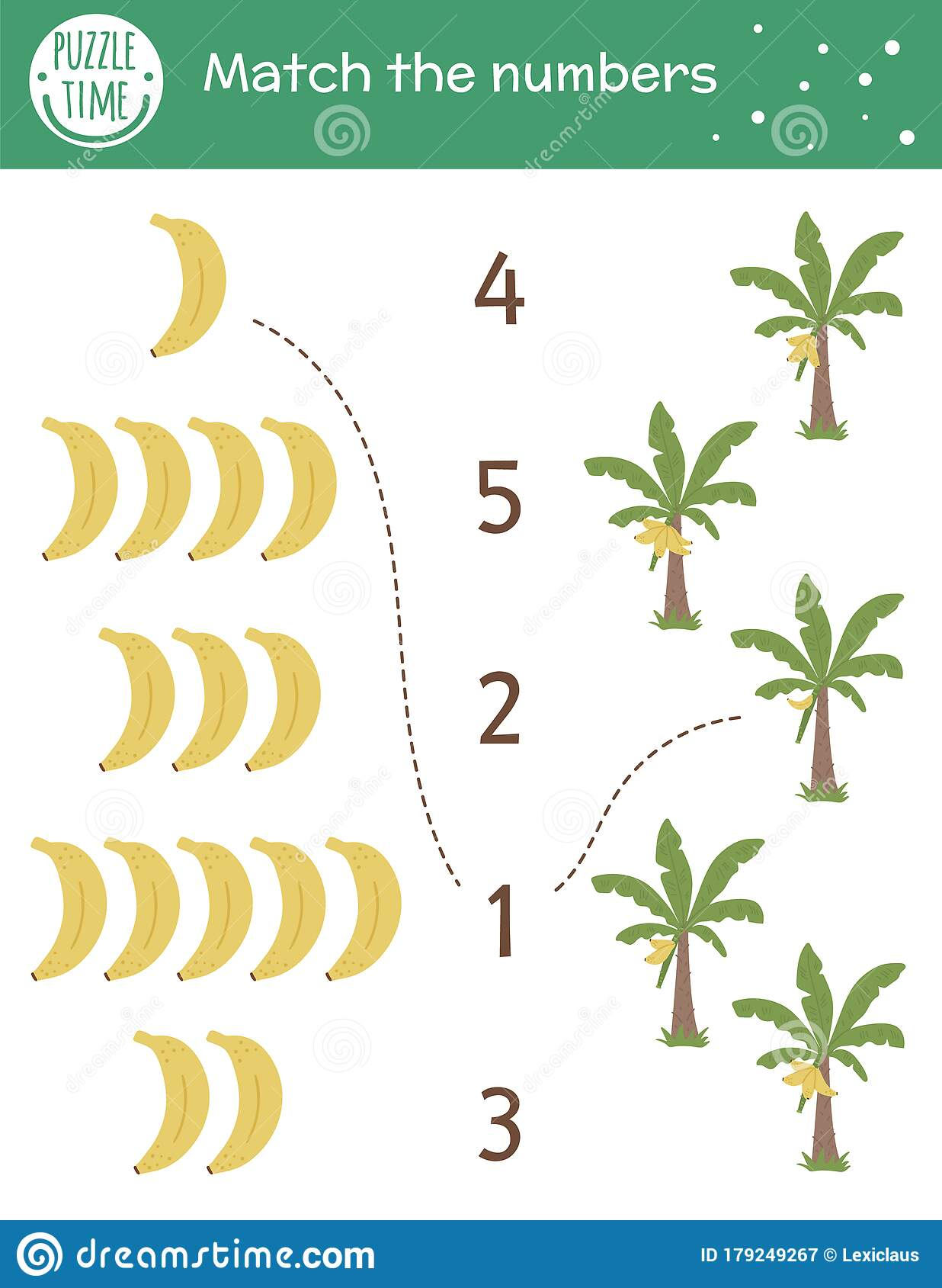 Matching Game With Bananas And Palm Trees Tropical Math