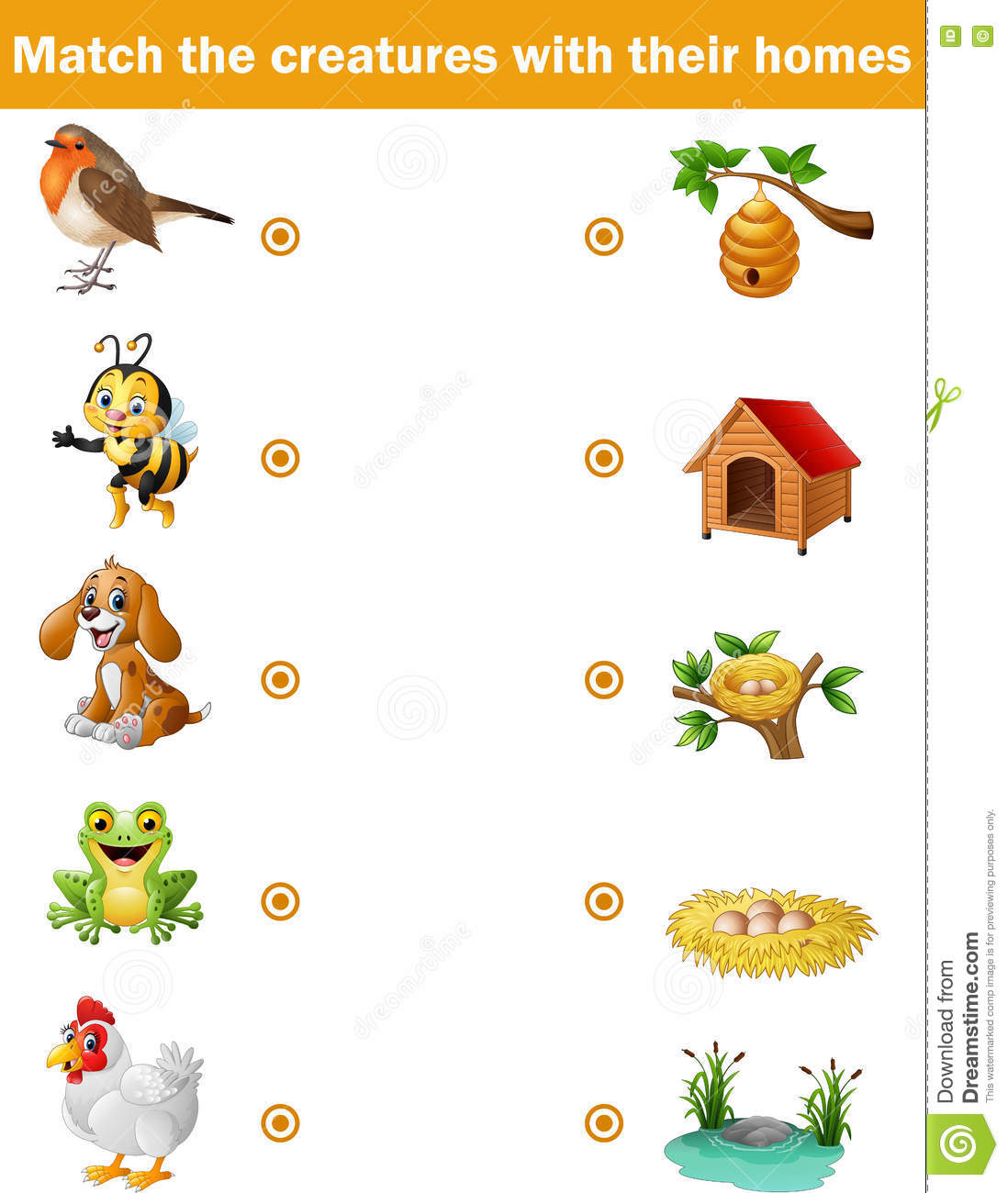 Matching Game For Children Animals With Their Homes Stock Vector