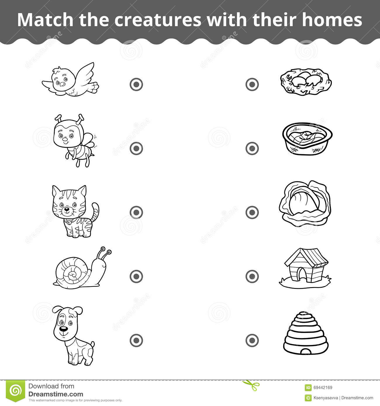 Matching Game For Children Animals And Their Homes Stock
