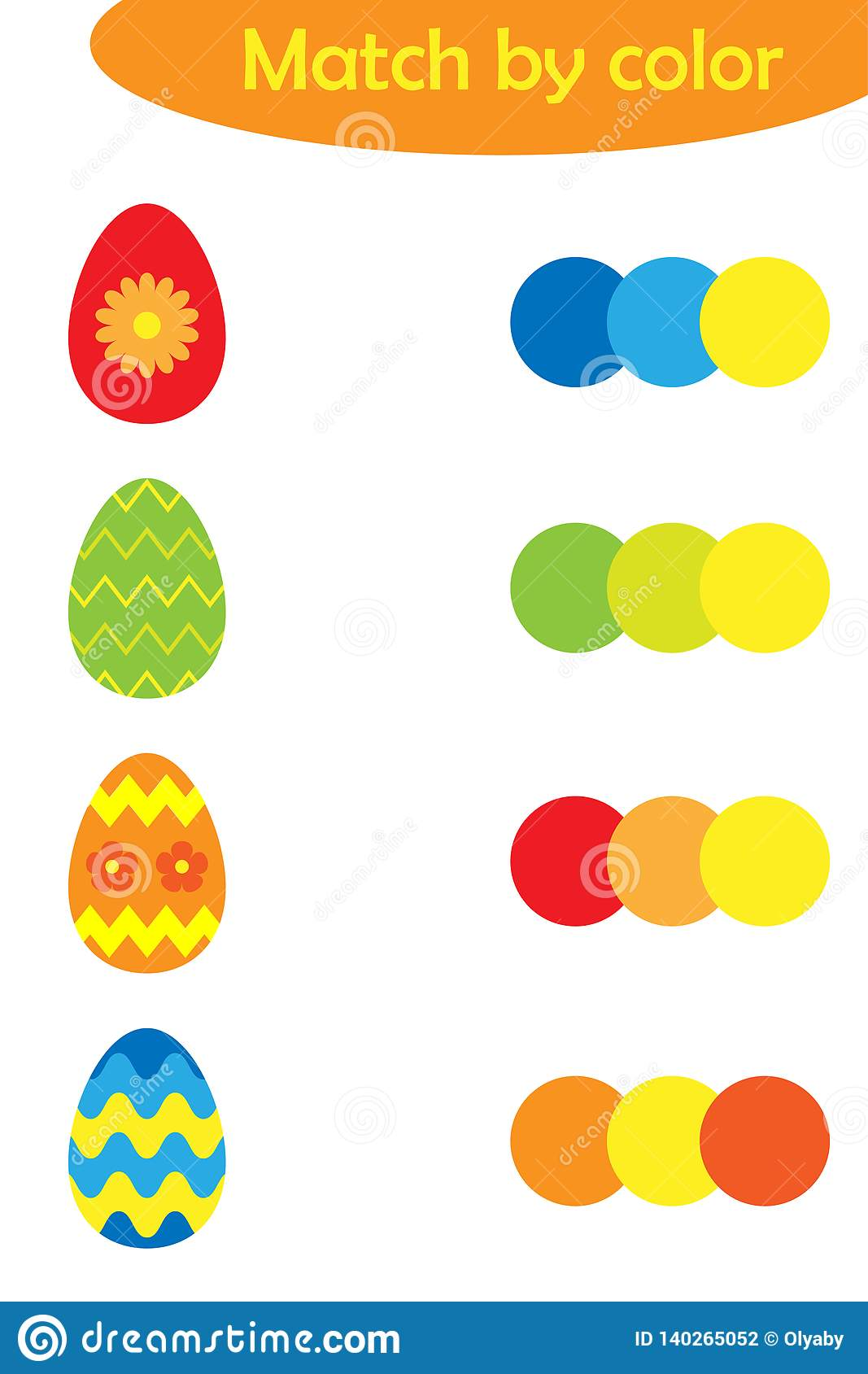 Matching Game For Children Connect Colorful Easter