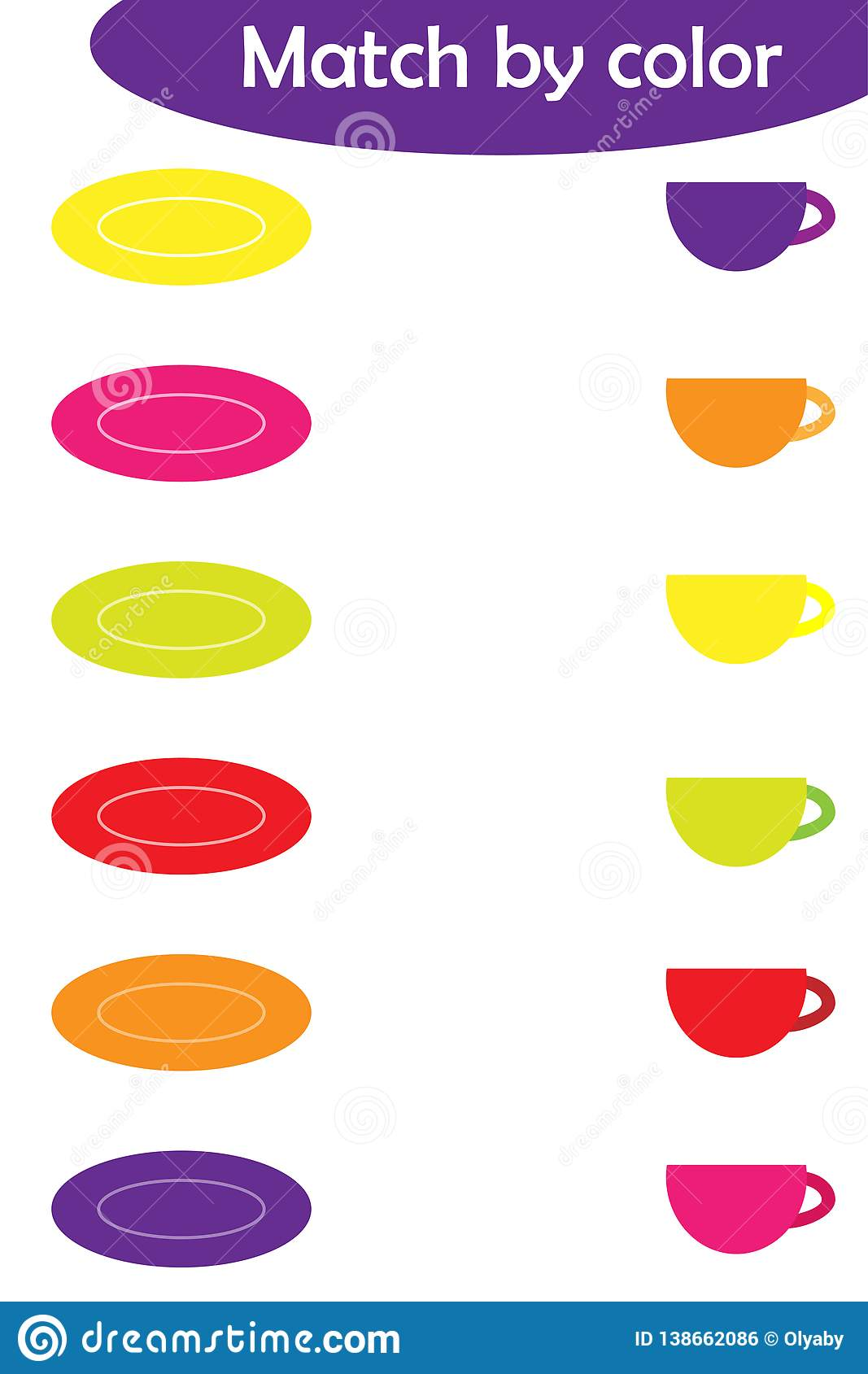 Matching Game For Children Connect Colorful Plates With