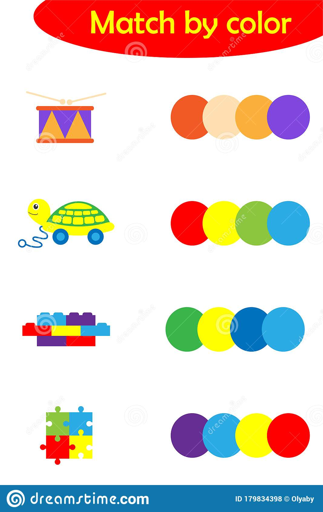 Matching Game For Children Connect Colorful Toys With