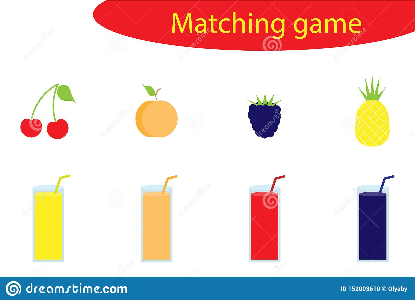 Matching Game For Children Connect Different Fruit With