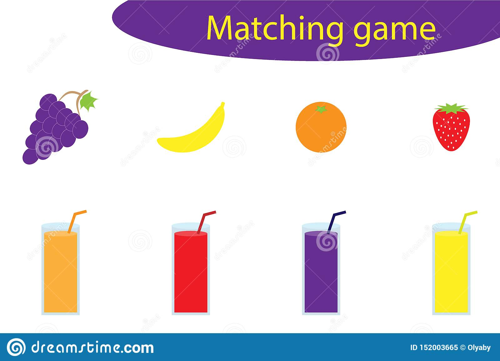 Matching Game For Children Connect Fruit With Glass Of