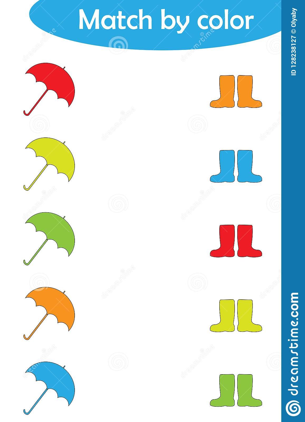 Red Umbrella And Rain Cartoon Vector