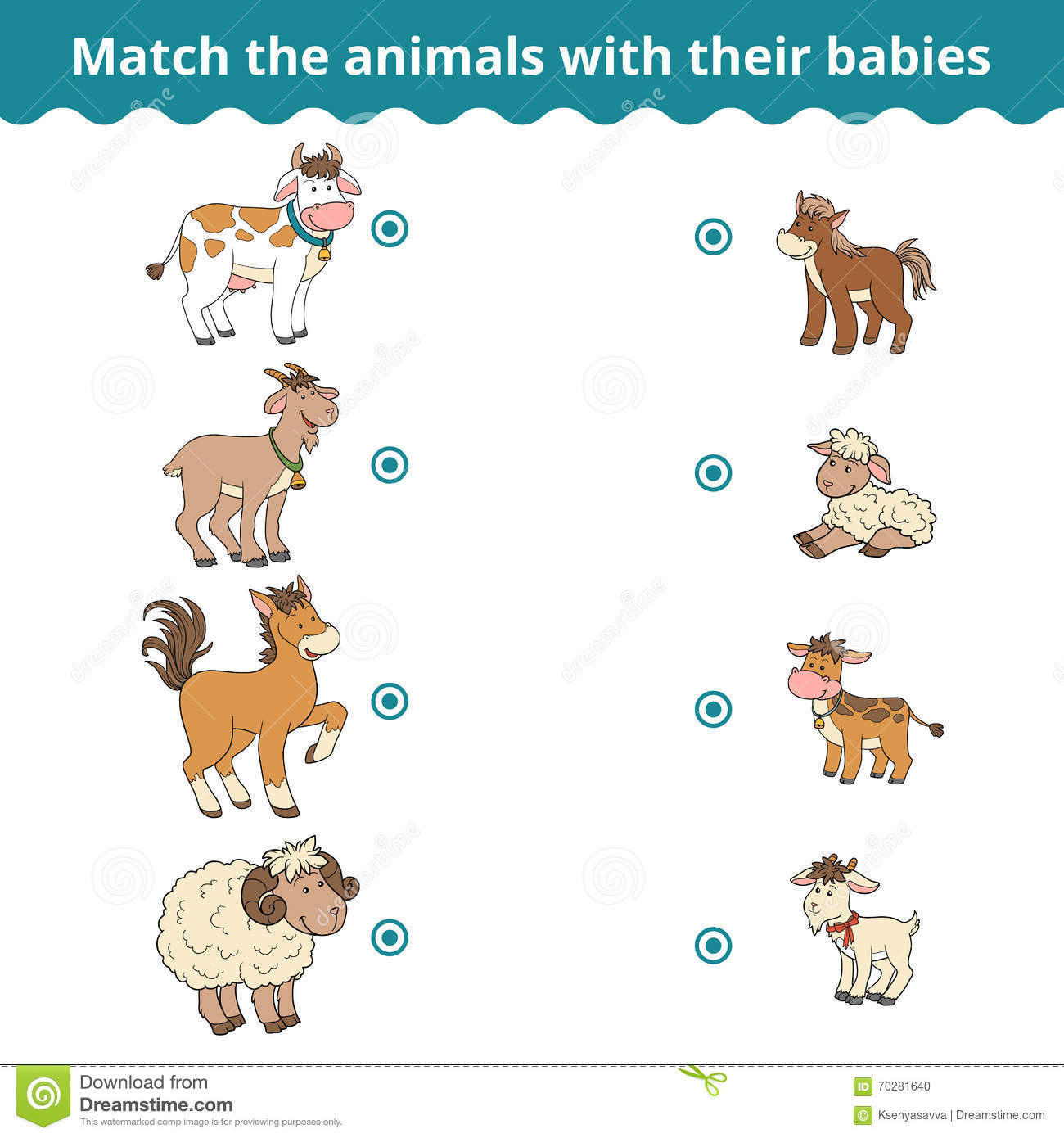 Matching Game For Children Farm Animals And Babies Stock Vector