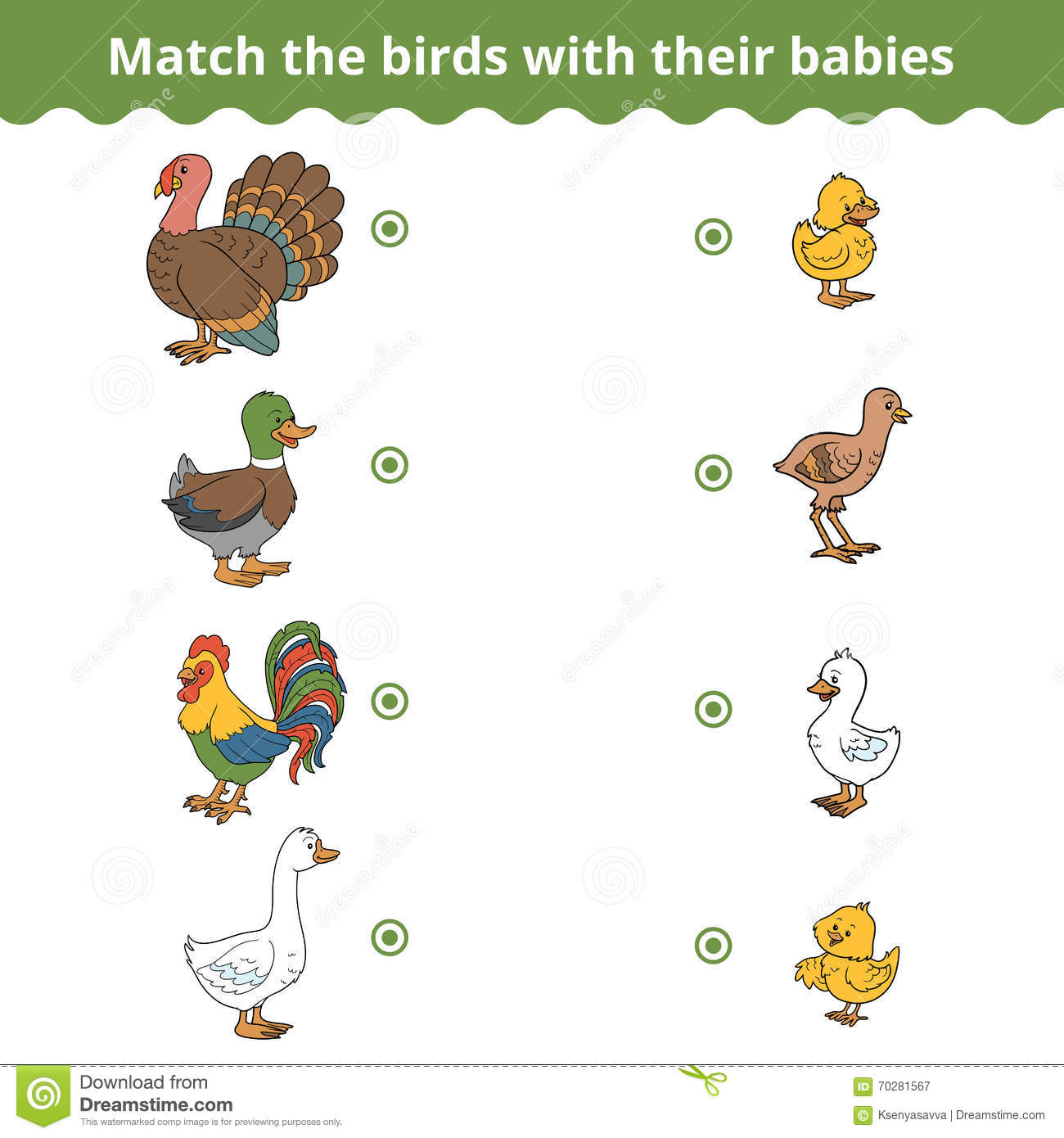 Matching Game For Children Farm Birds And Babies Stock