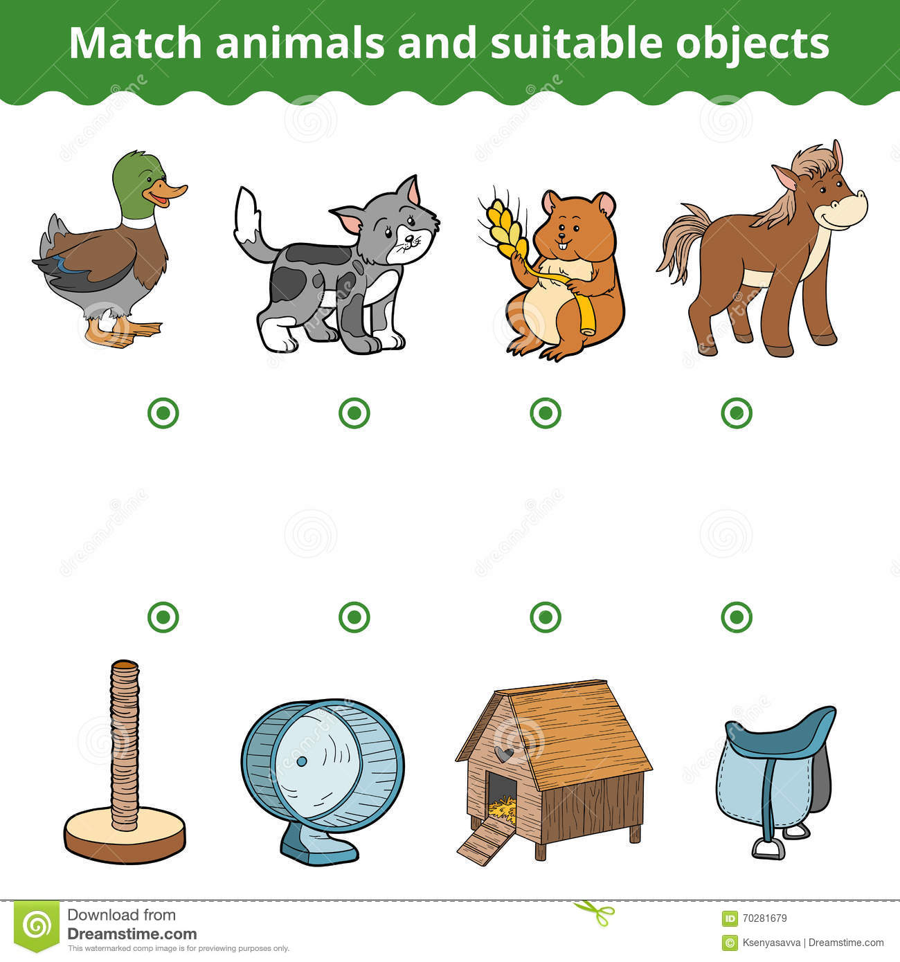 Matching Game For Children Match Animals And Suitable