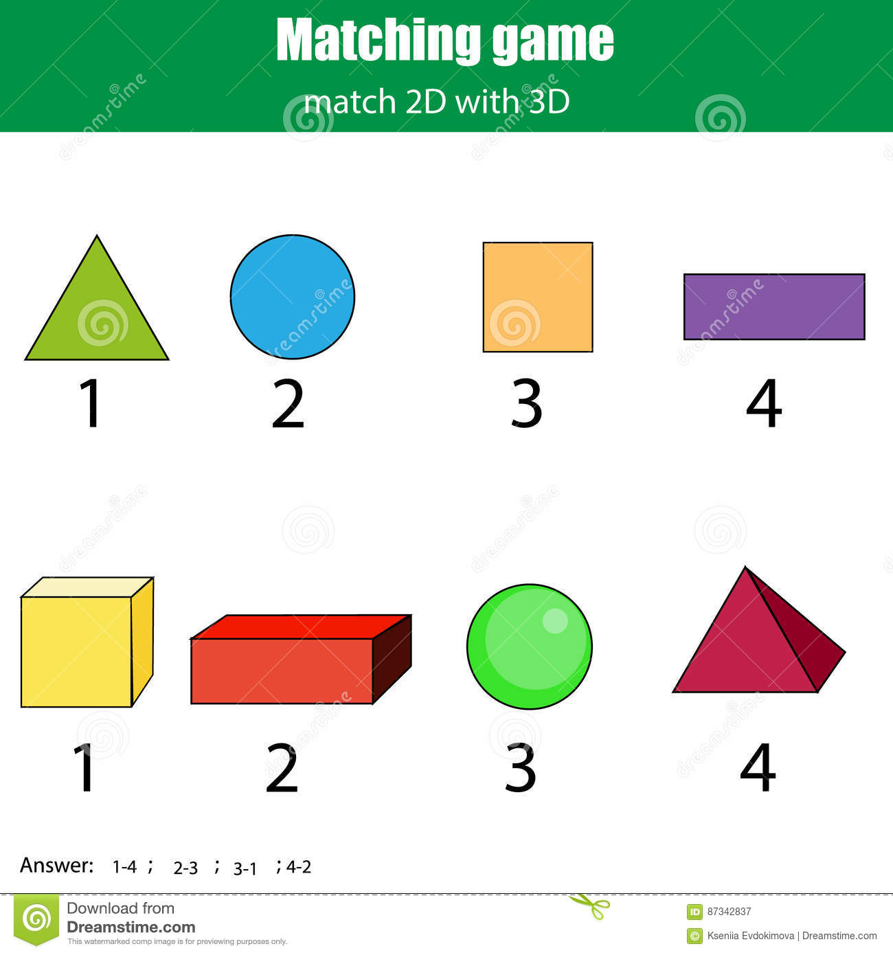 Learning The 3d Shapes For Kids Vector Illustration