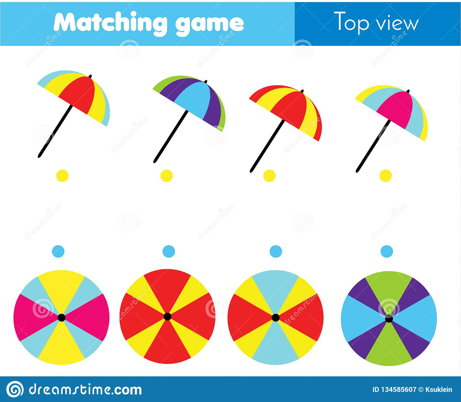 Matching Game Educational Children Activity With Umbrella