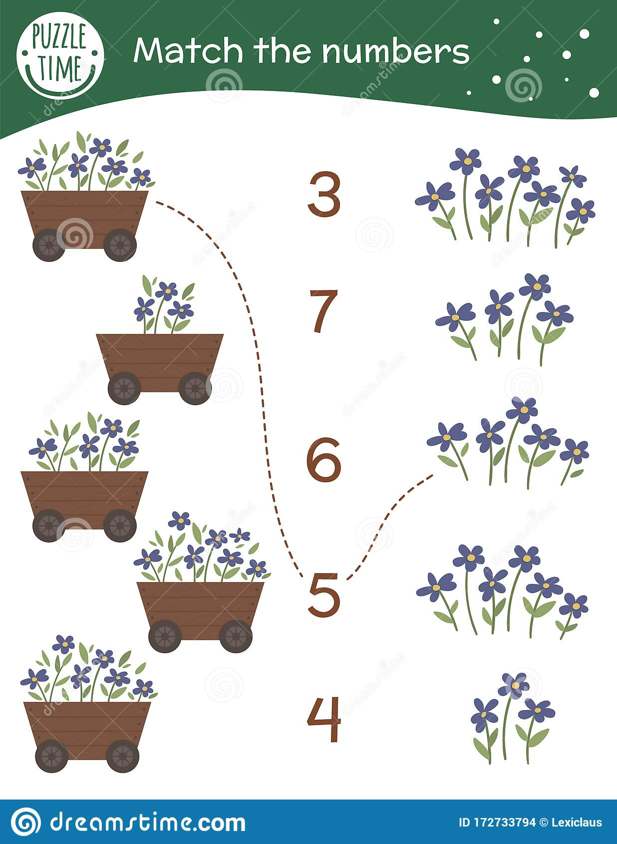 Matching Game With Flowerbed And Flowers Garden Math