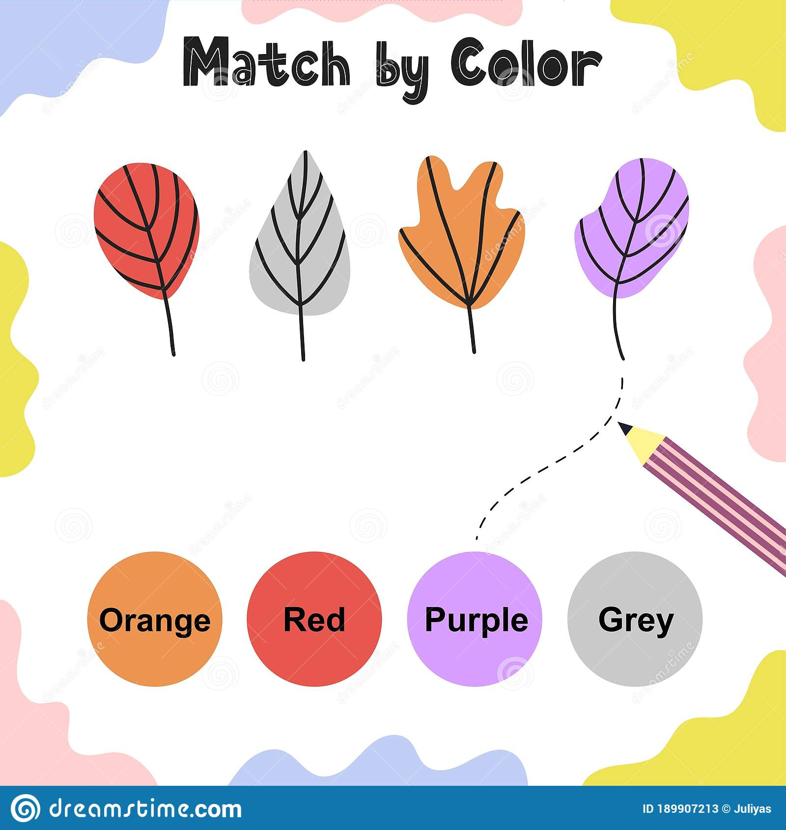 Matching Game For Kids Choose The Correct Colors For
