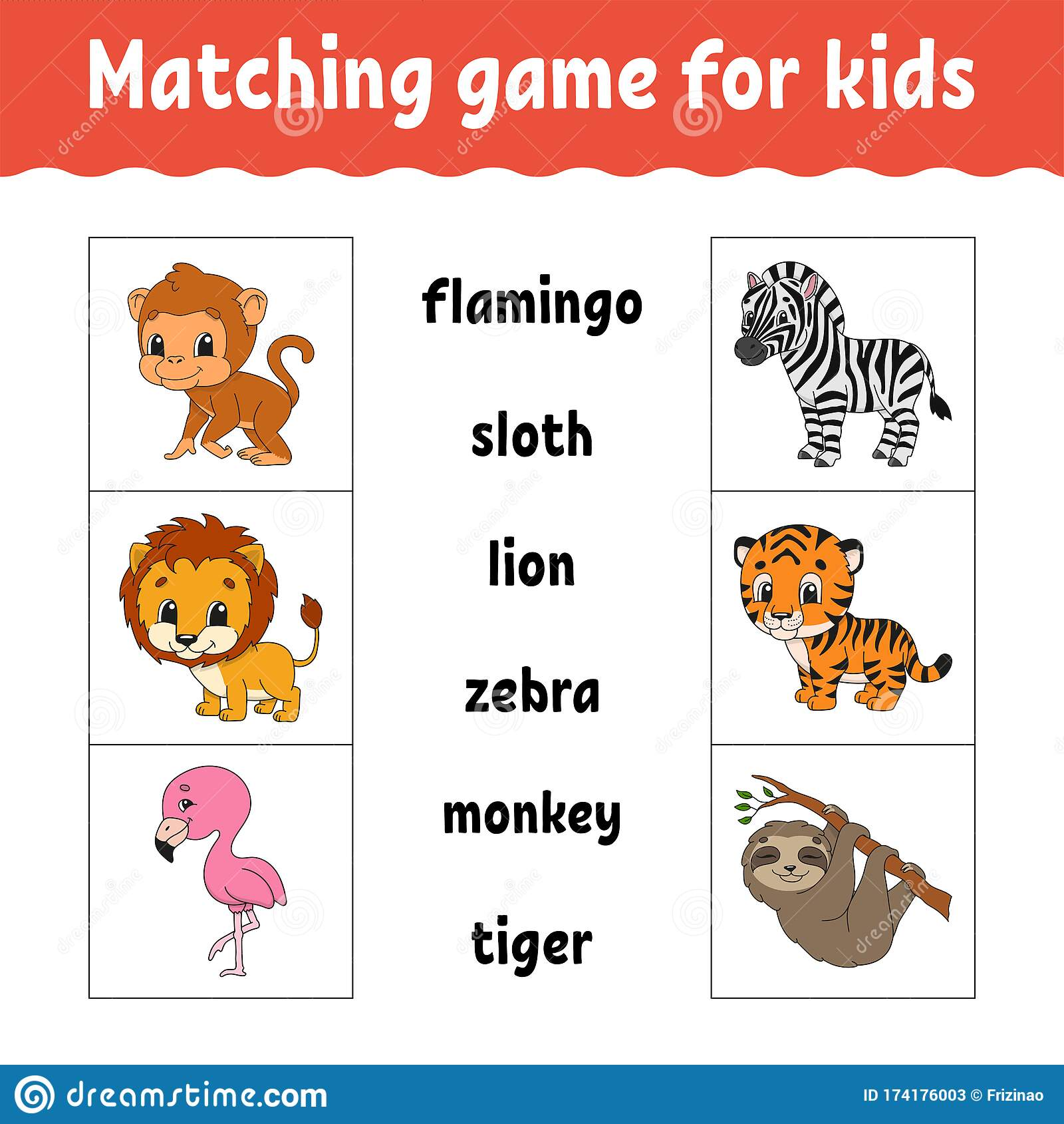 Matching Game For Kids Find The Correct Answer Draw A