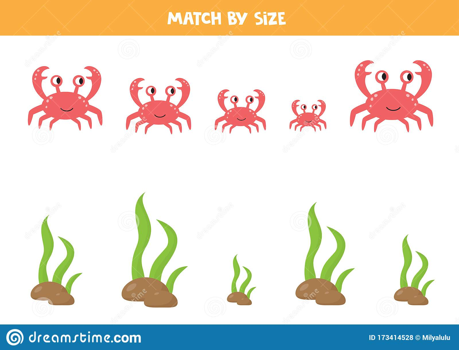 Matching Game For Kids Sea Animals Sort By Size Crab