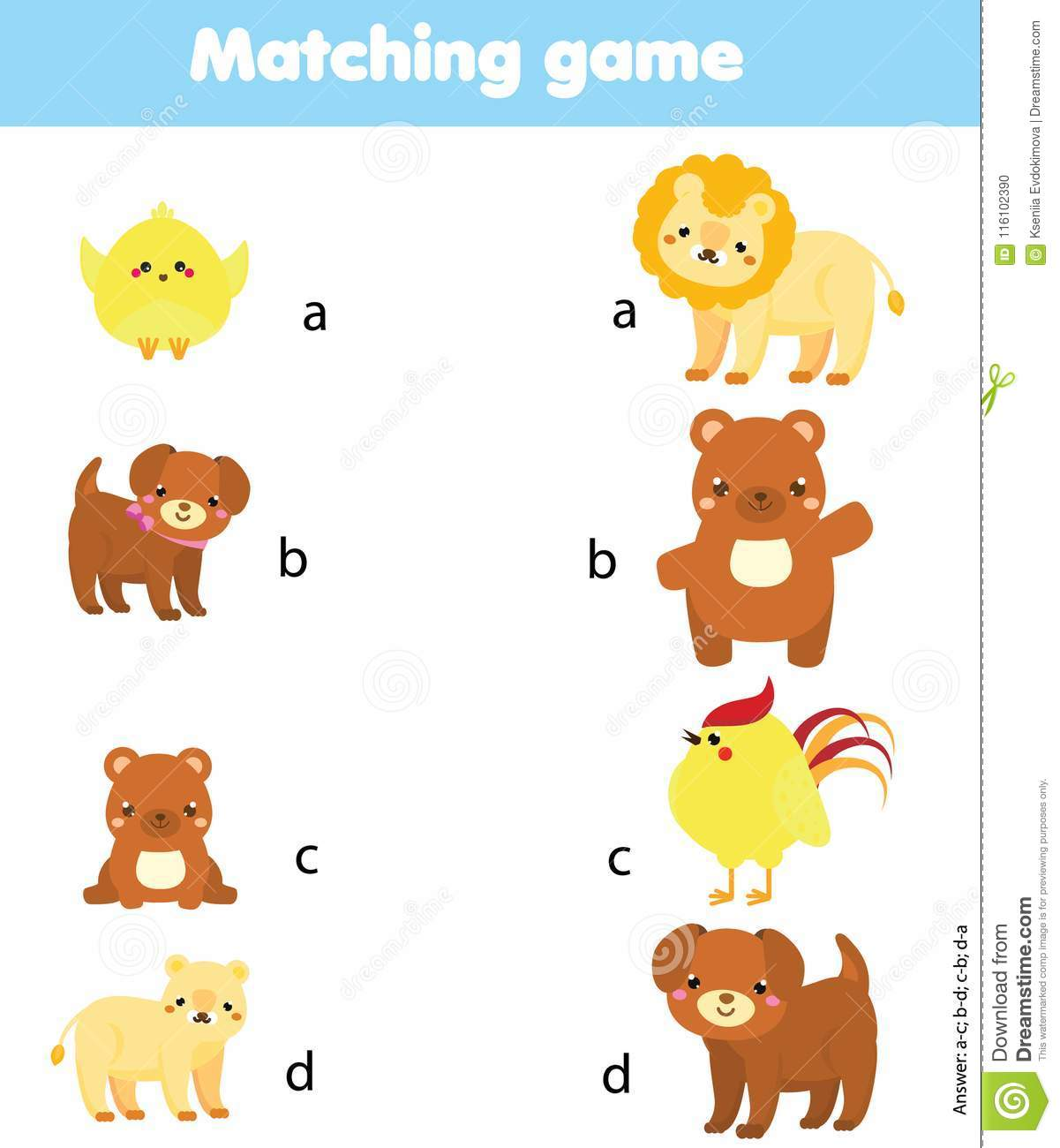 Matching Game Match Animal Parent With Baby Educational Children Activity Stock Vector