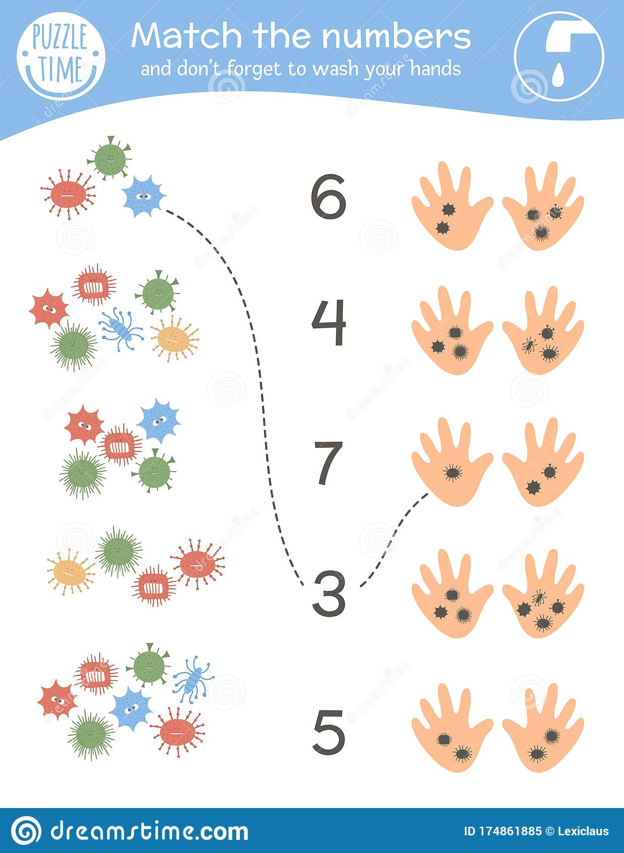 Matching Game With Viruses And Dirty Hands Medical Math