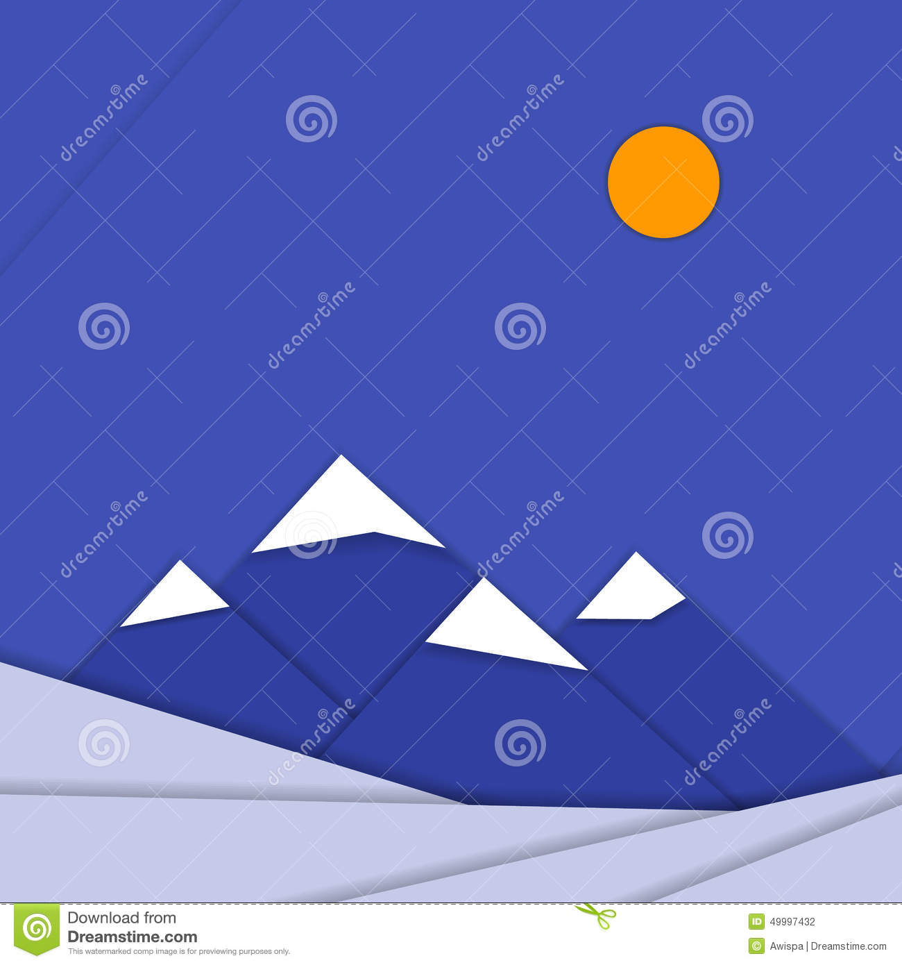 Material Design Landscape Background With Stock Vector