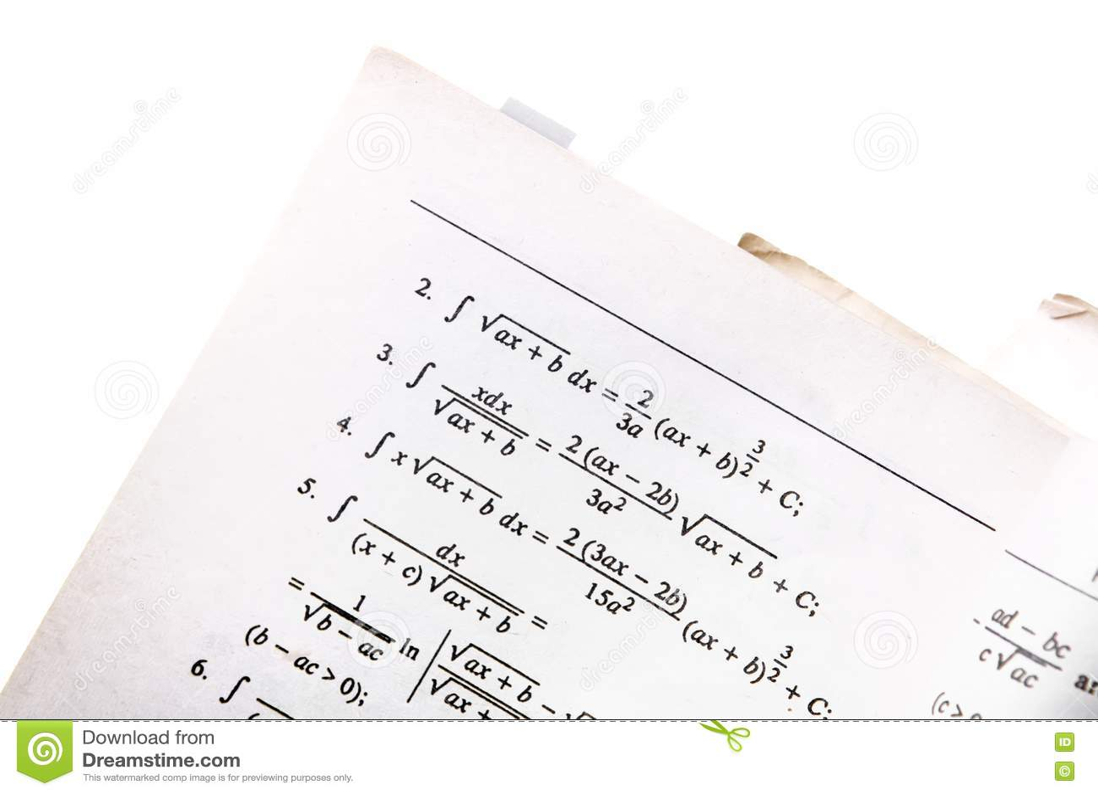 Math Book Closeup Picture. Image: 8595139