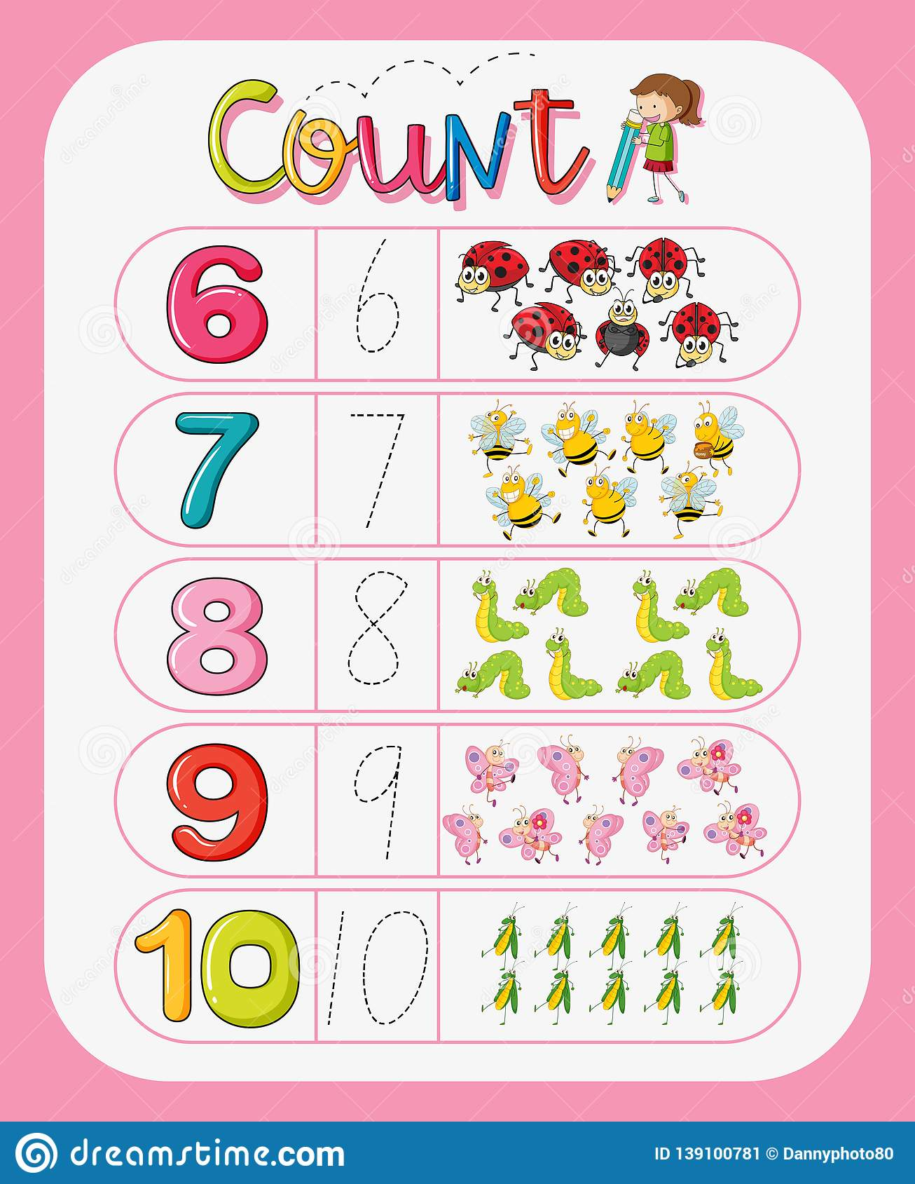 Math Counting Number Worksheet Stock Illustration