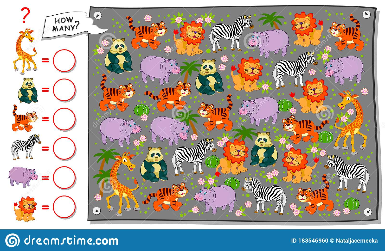 Math Education For Children Count Quantity Of Animals In